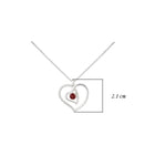 Hep Audrey Amore Interlocked Hearts Sterling Silver Pendant Chain with Garnet UK