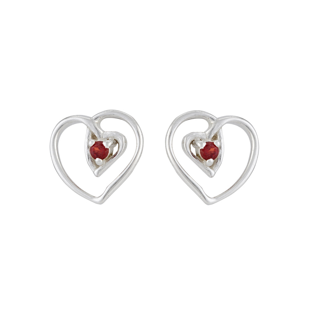 Hep Audrey Amore Interlocked Hearts Sterling Silver Stud Earrings With Garnet 1