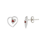Hep Audrey Amore Interlocked Hearts Sterling Silver Stud Earrings With Garnet 2