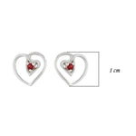 Hep Audrey Amore Interlocked Hearts Sterling Silver Stud Earrings With Garnet 3