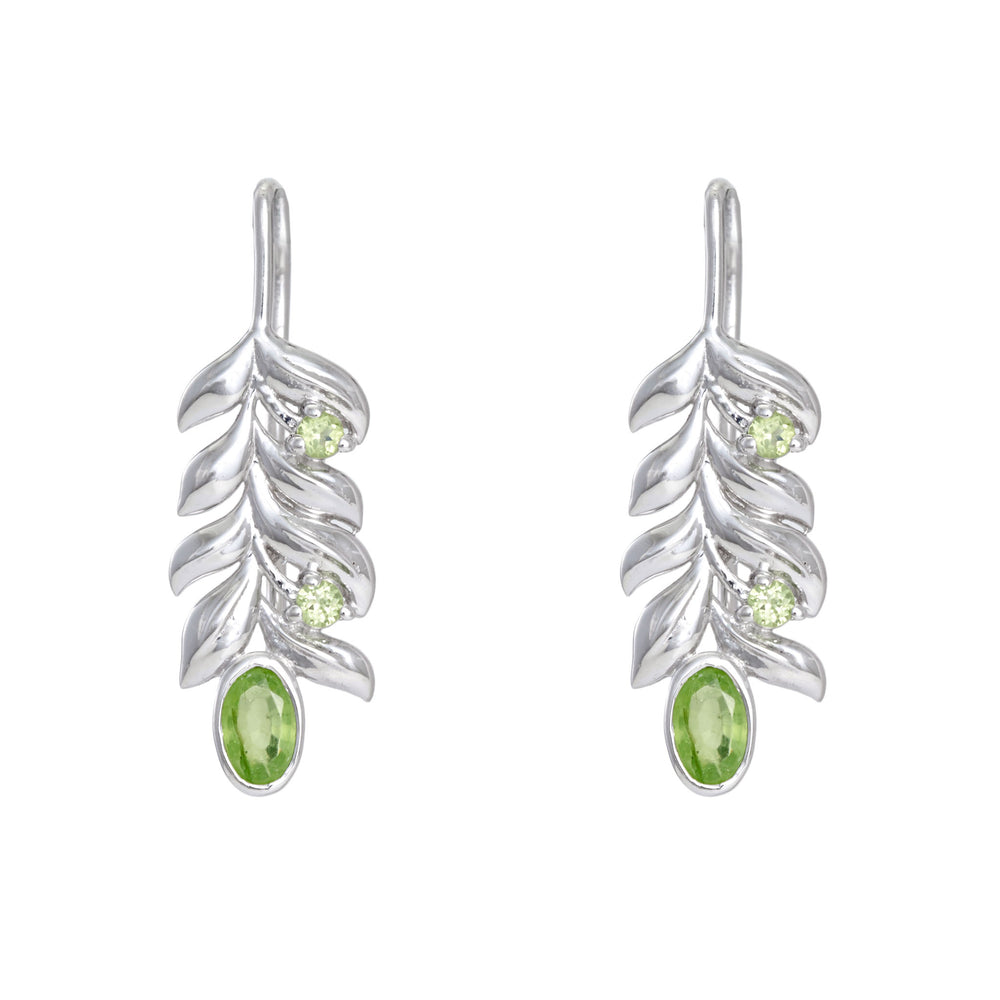 Artisan Bold Leaf & Fruit Sterling Silver Earrings with Peridot