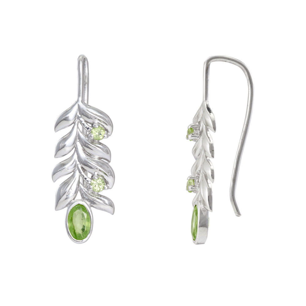 Buy Online - Artisan Collection Bold Leaf Sterling Silver Earrings with Peridot 2
