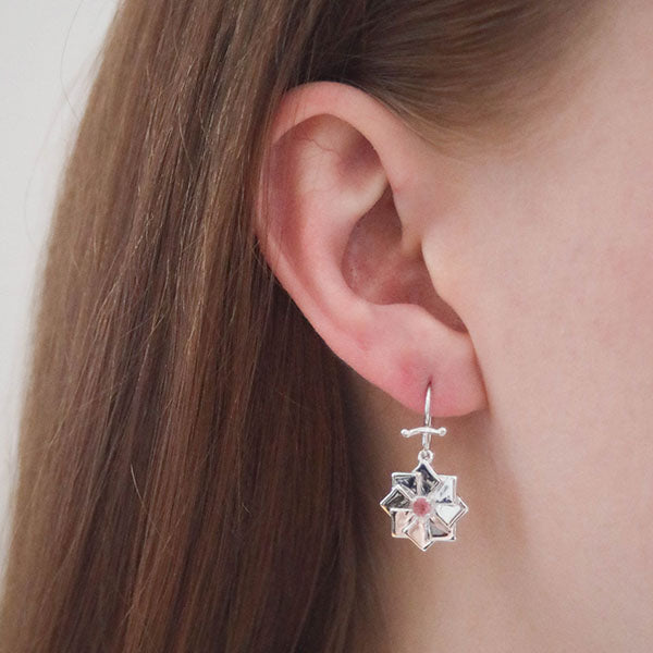 Artisan Bread Loaf Sterling Silver Earrings with Pink Tourmaline