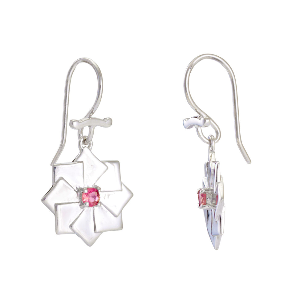 Buy Sterling Silver Earrings Online- Artisan Collection Bread Loaf Sterling Silver Earrings with Pink Tourmaline 2