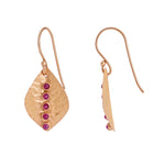 Buy Online Artisan Collection Broad Leaf Lined with Red Garnet Sterling Silver Earrings UK