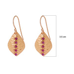 Buy Online Artisan Collection Red Garnet Stone Lined Broad Leaf Sterling Silver Earrings  UK