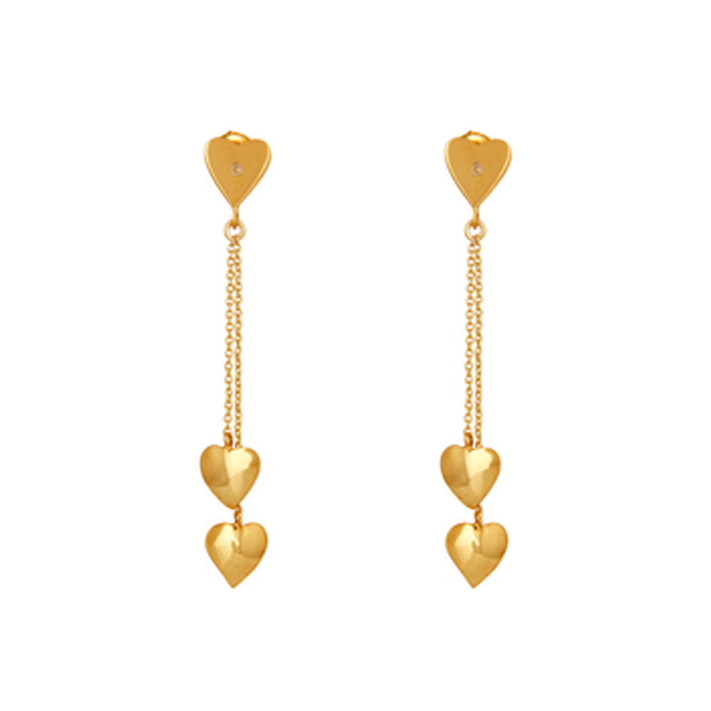 Buy Online 18ct Gold earrings - Little Hearts Sterling Silver Earrings with White Topaz UK