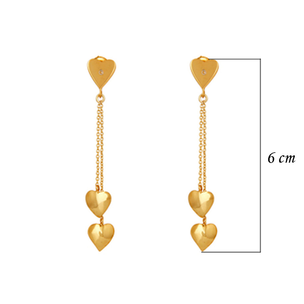 Buy Online 18ct Gold Heart Shaped  earrings -Sterling Silver Earrings with White Topaz 3