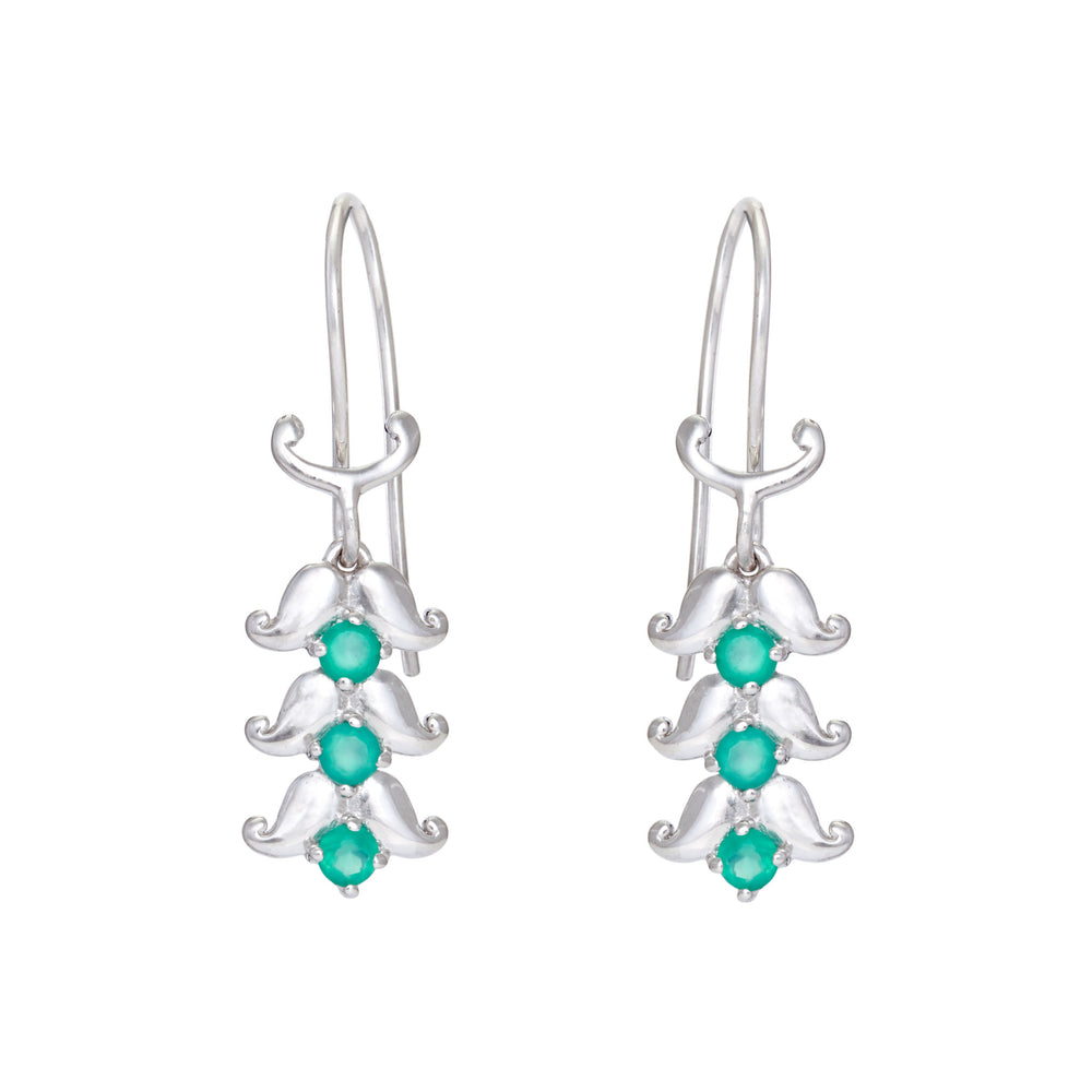 Buy - Hep Audrey Artisan Spring Paisley Sterling Silver Earrings with Green Onyx
