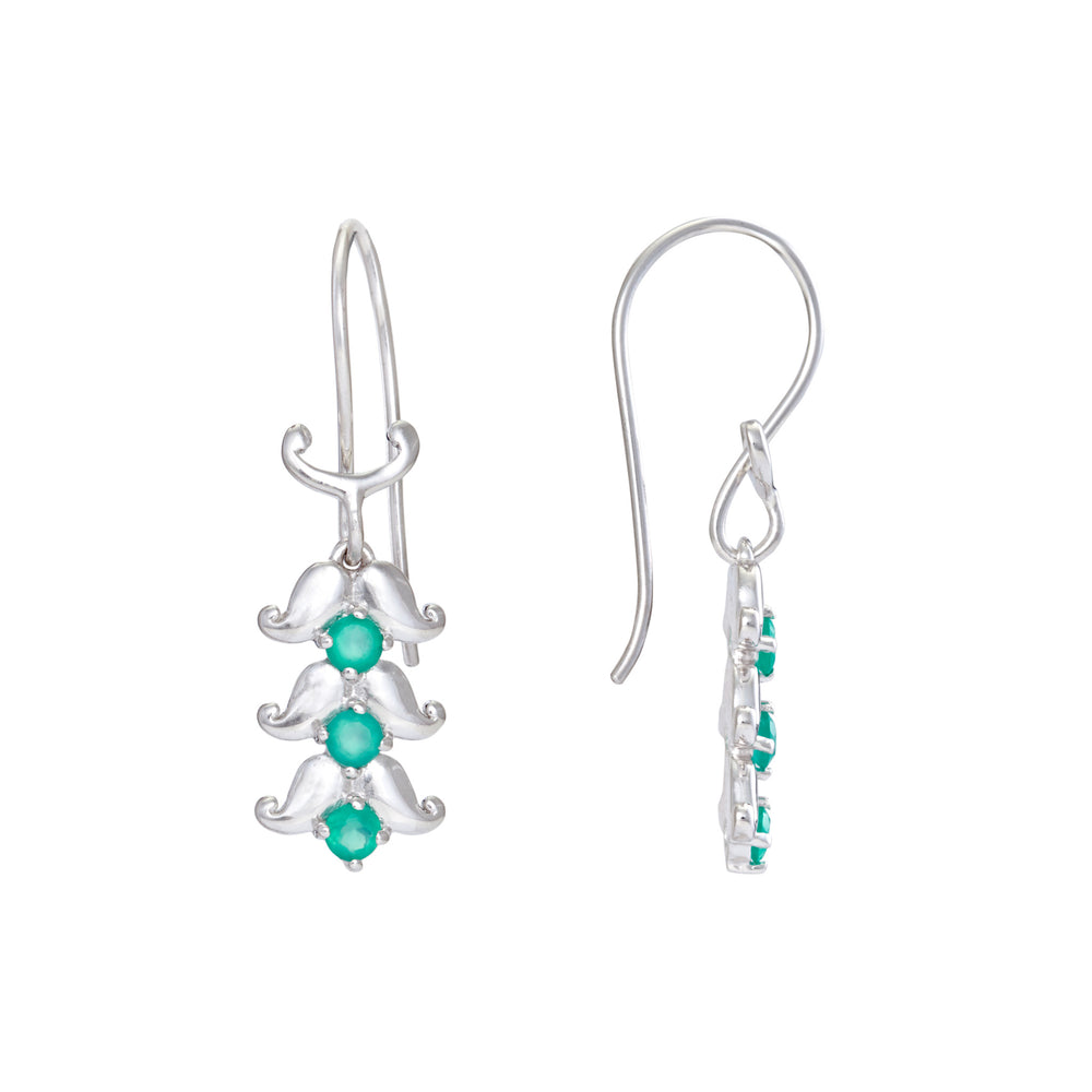 Shop Sterling Silver Earrings  Online - Hep Audrey Artisan Spring Paisley Sterling Silver Earrings with Green Onyx 2