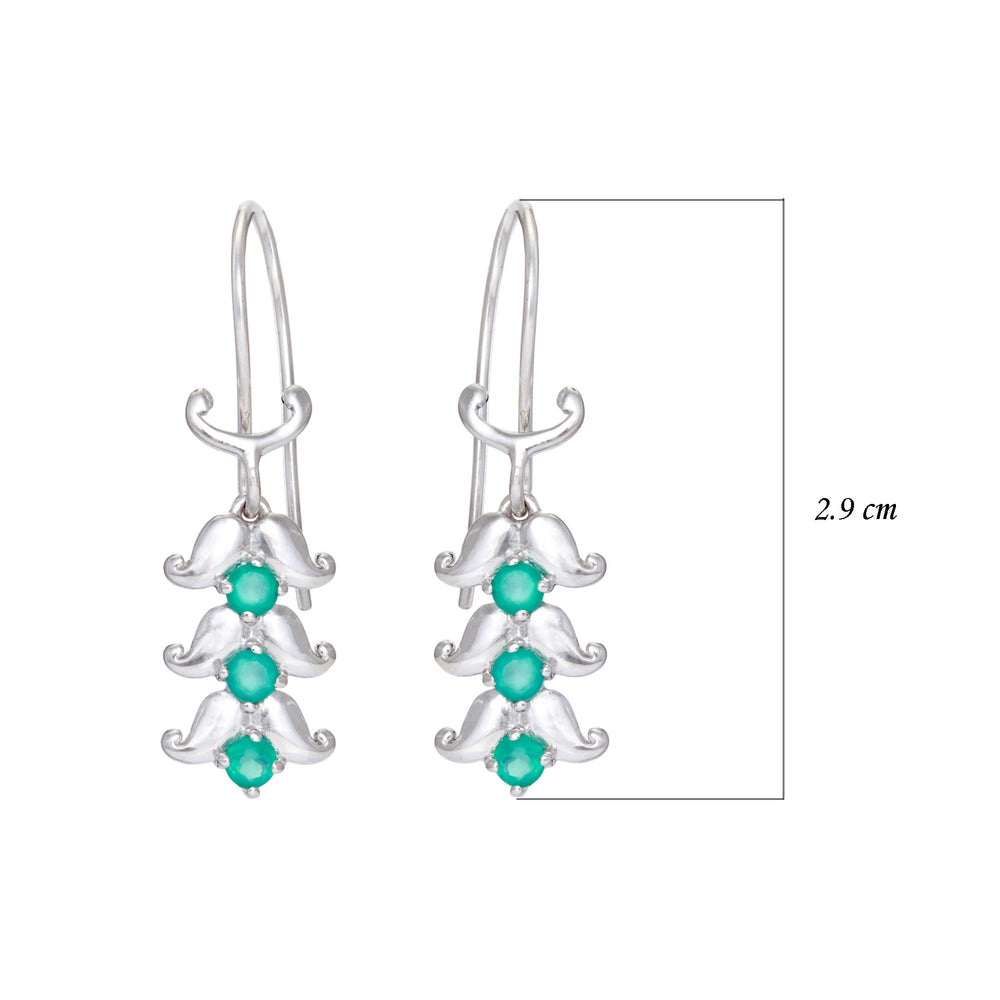 Buy Earrings Online UK - Collection Paisley Sterling Silver Earrings with Green Onyx 3