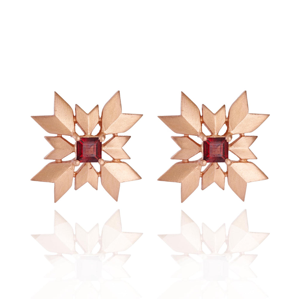 Buy Online Rose Gold- Artisan Collection Snowflake Stud Earrings with Garnet 1