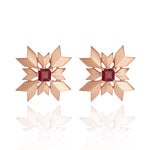 Artisan Snowflake Sterling Silver Stud Earrings with Garnet