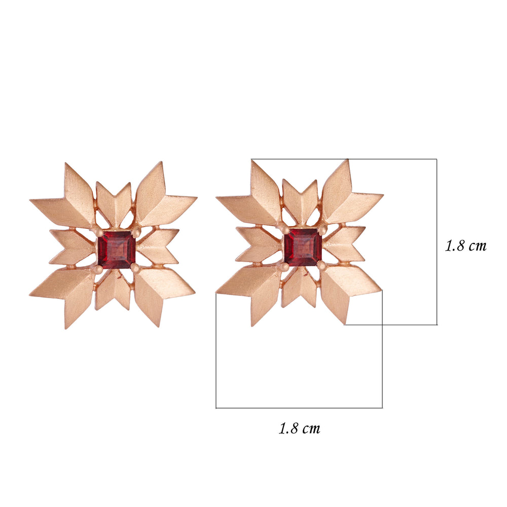 Buy Artisan Collection Red Garnet Pure Snowflake Stud Earrings Online 3
