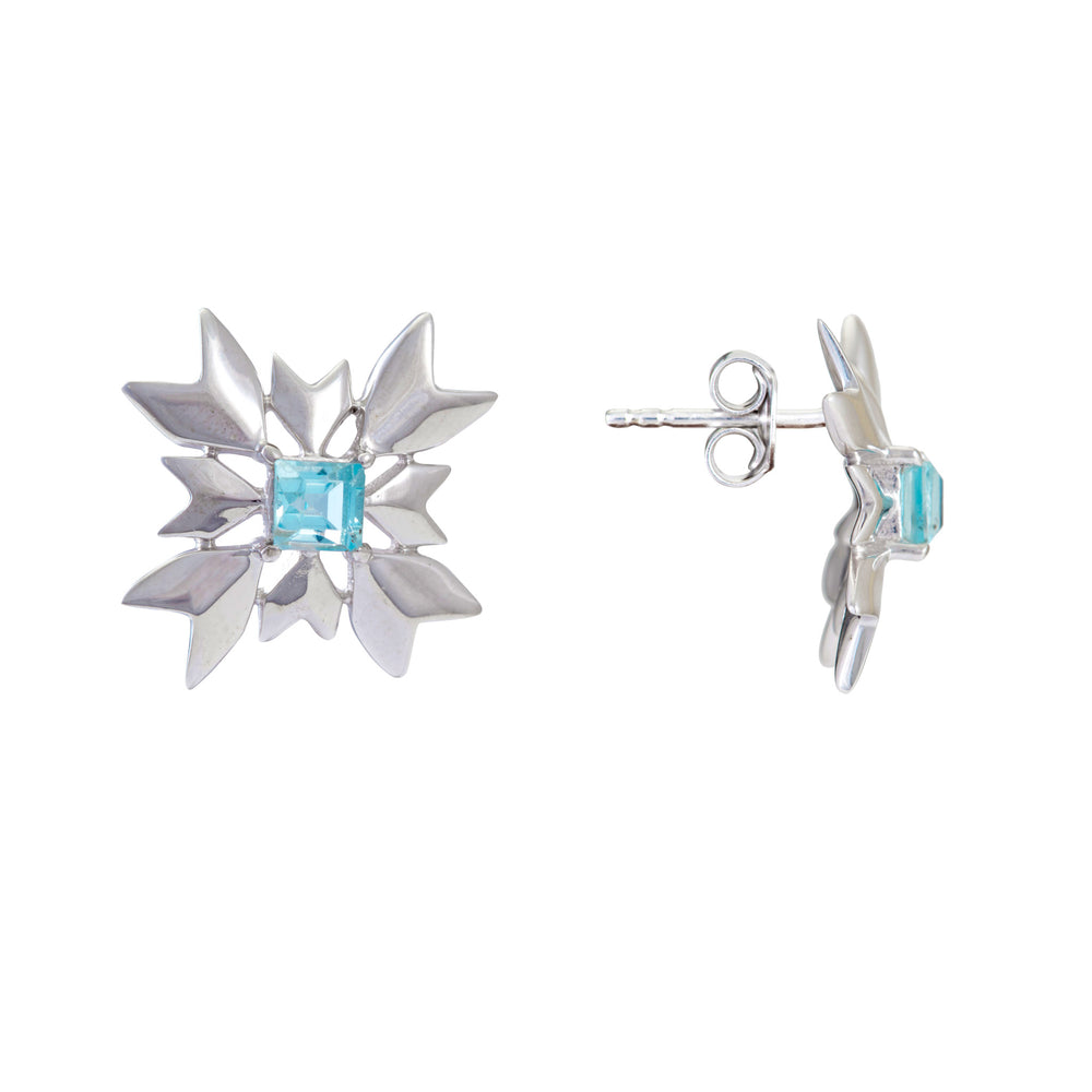 Buy Online - Hep Audrey Artisan Collection Snowflake Sterling Silver Stud Earrings with Blue Topaz
