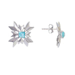 Buy - Hep Audrey Artisan Collection Snowflake Sterling Silver Stud Earrings with Blue Topaz