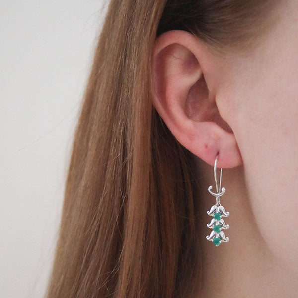 Hep Audrey Artisan Spring Paisley Sterling Silver Earrings with Green Onyx 1