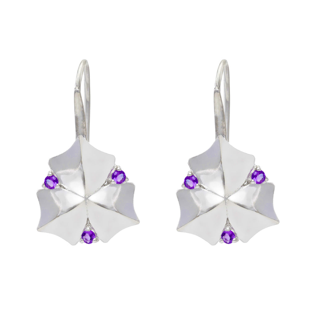 Artisan Sycamore Leaf Sterling Silver Earrings with Amethyst