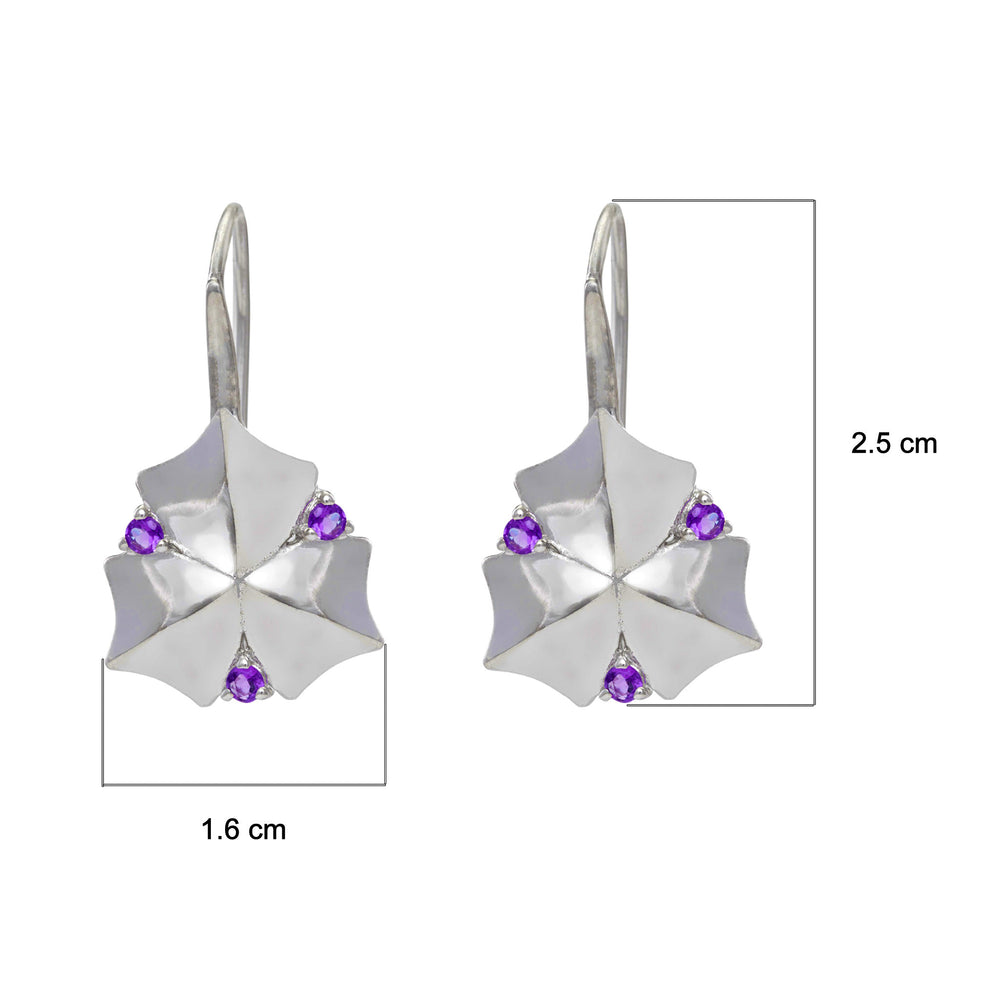 Buy Online Hook Hangings- Artisan Collection Sycamore Leaf Sterling Silver Earrings with Amethyst 3