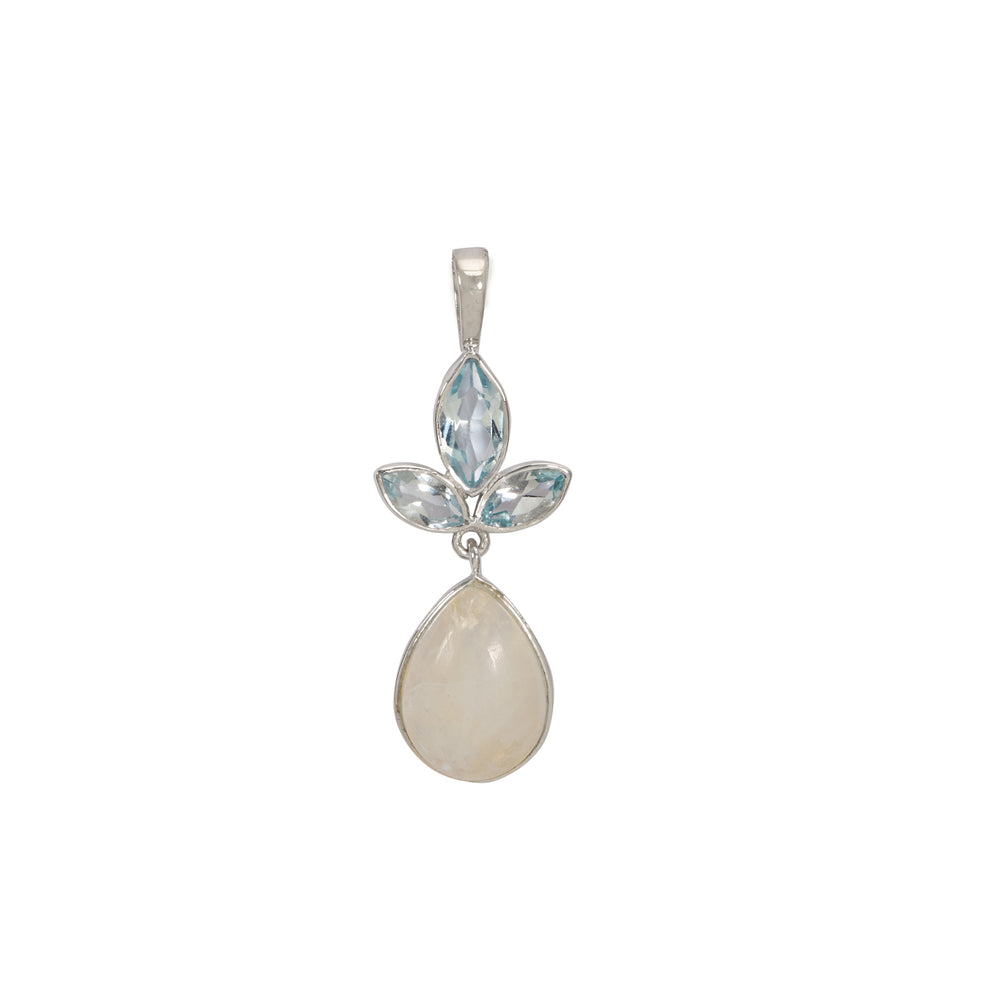 Aurora Blue Topaz and Grey Moonstone Pendant Chain