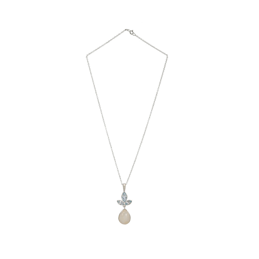 Buy Online Aurora Collection Pendant Chain  with Blue Topaz and Grey Moonstone UK