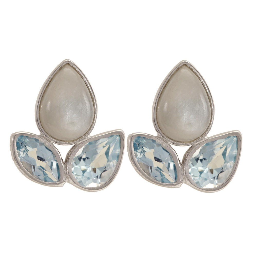 Buy Online Aurora Collection Stud Earrings with Blue Topaz and Grey Moonstone  UK