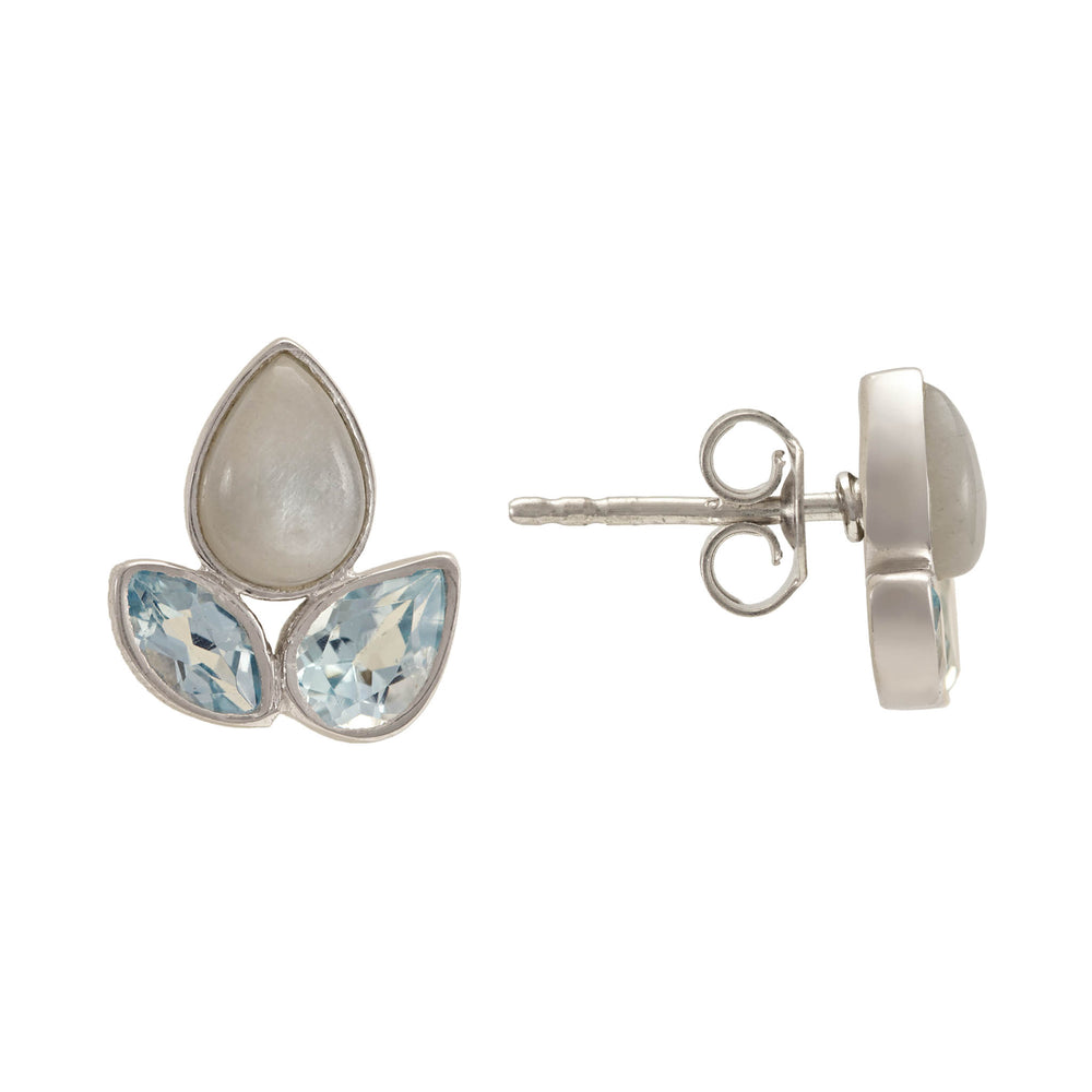 Buy Online Aurora Collection Floral Pattern Stud Earrings with Blue Topaz and Grey Moonstone UK