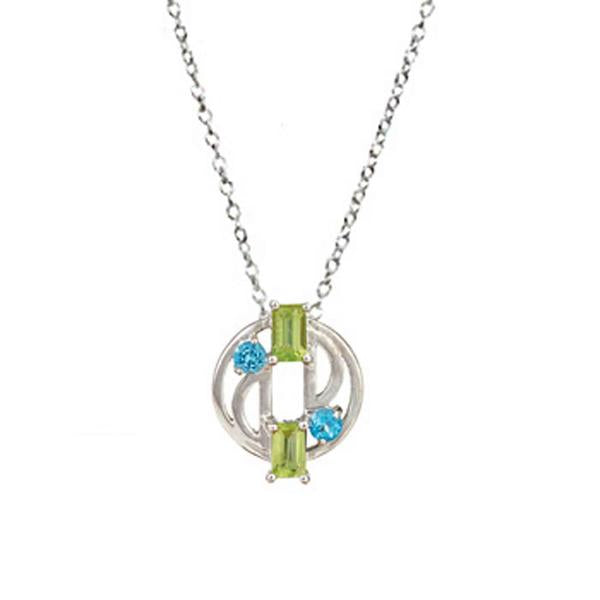 Aurora Blue Topaz and Peridot Pendant with Chain