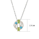 Buy Online Aurora  Sterling Silver  Chain with Blue Topaz And Peridot Pendant UK