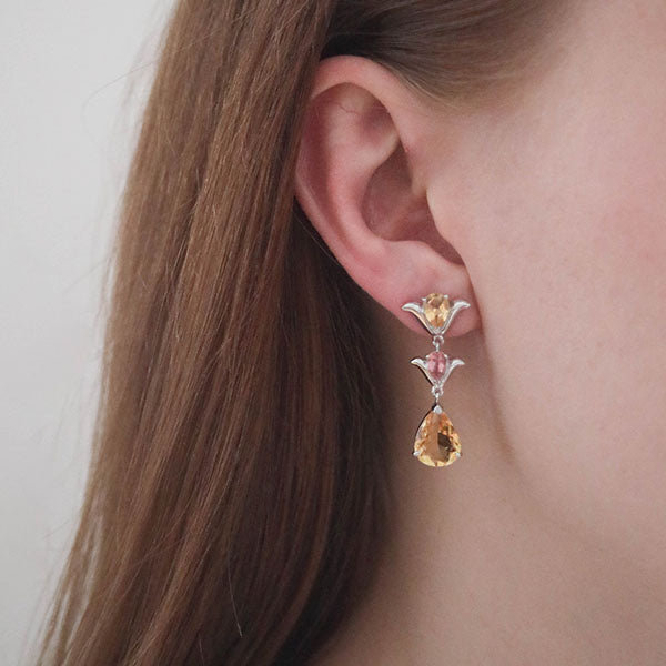 Aurora Citrine and Pink Tourmaline Sterling Silver Earrings