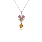 Aurora Citrine and Pink Tourmaline Pendant with Chain