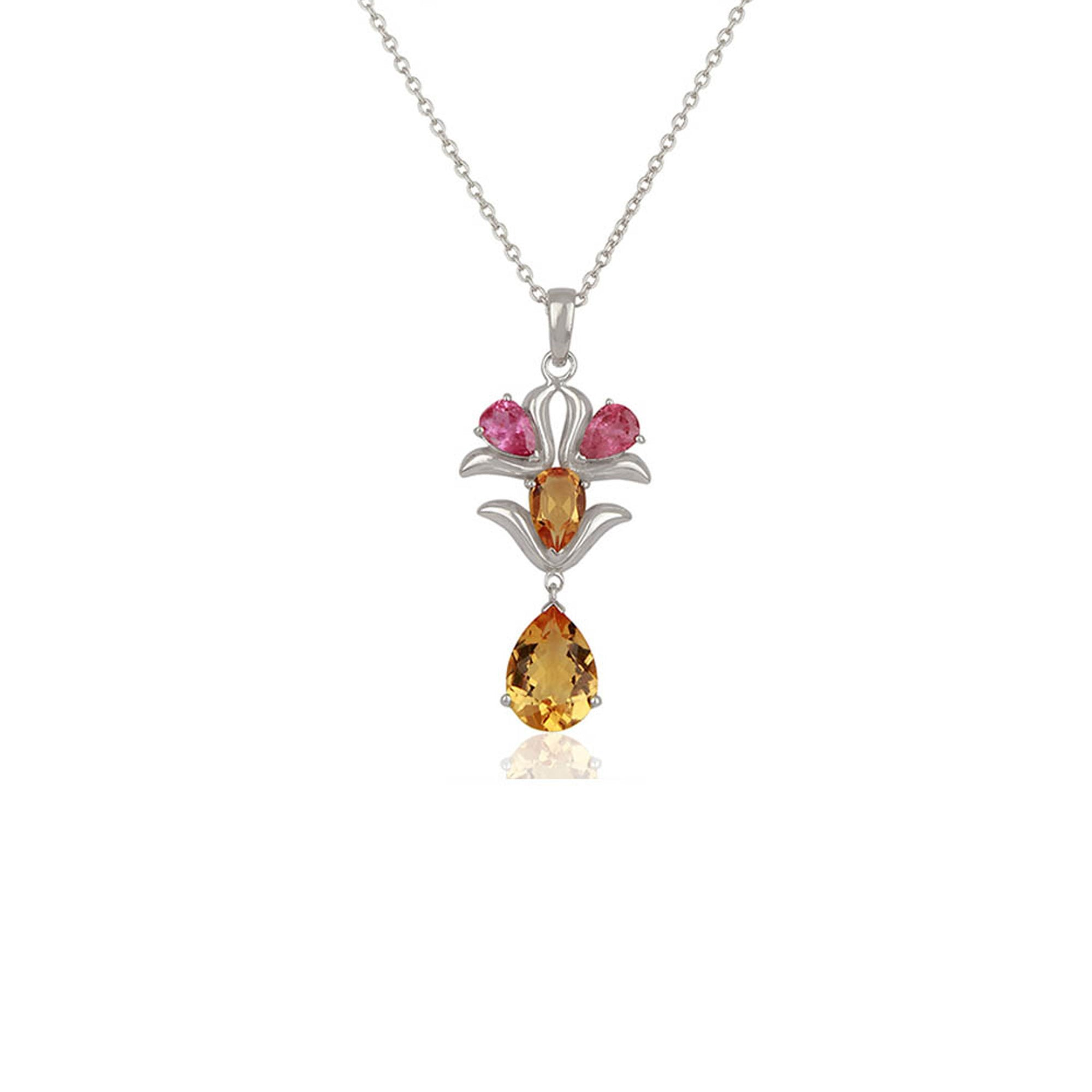 white cushion in cut tw pendant and pink tourmaline gold necklace diamond