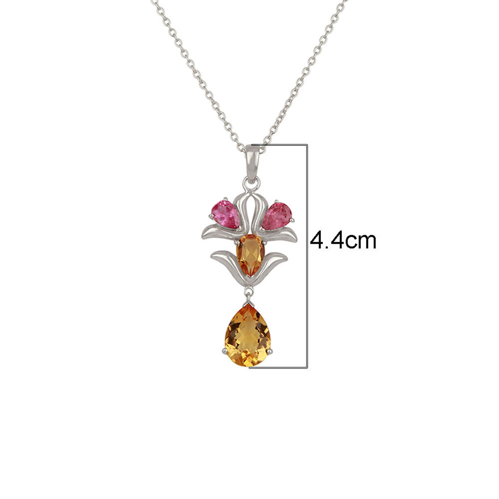 Buy Online Aurora Collection Sterling Silver Citrine  Chain with Citrine and Pink Tourmaline Pendant  UK
