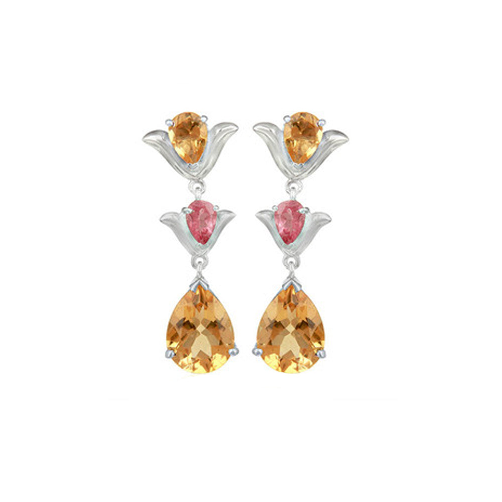 Hep Audrey Aurora Citrine and Pink Tourmaline Sterling Silver Earrings 1