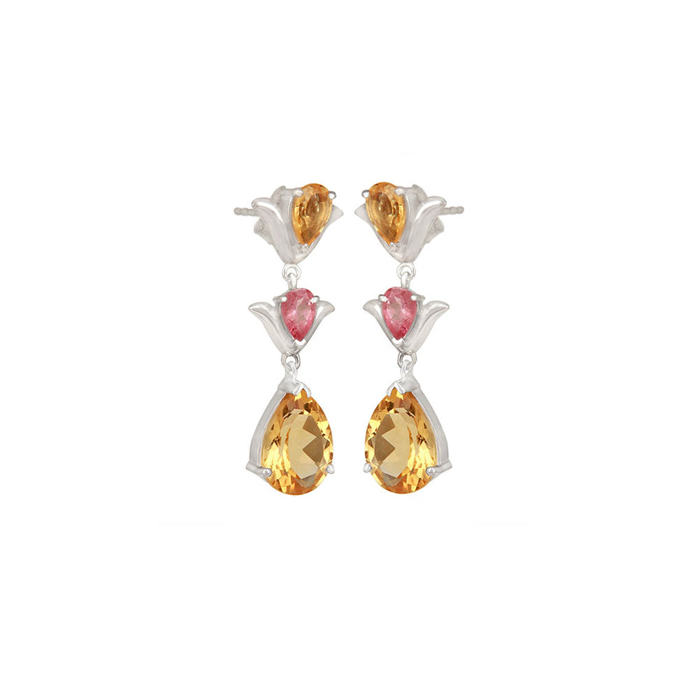 Hep Audrey Aurora Citrine and Pink Tourmaline Sterling Silver Earrings 2