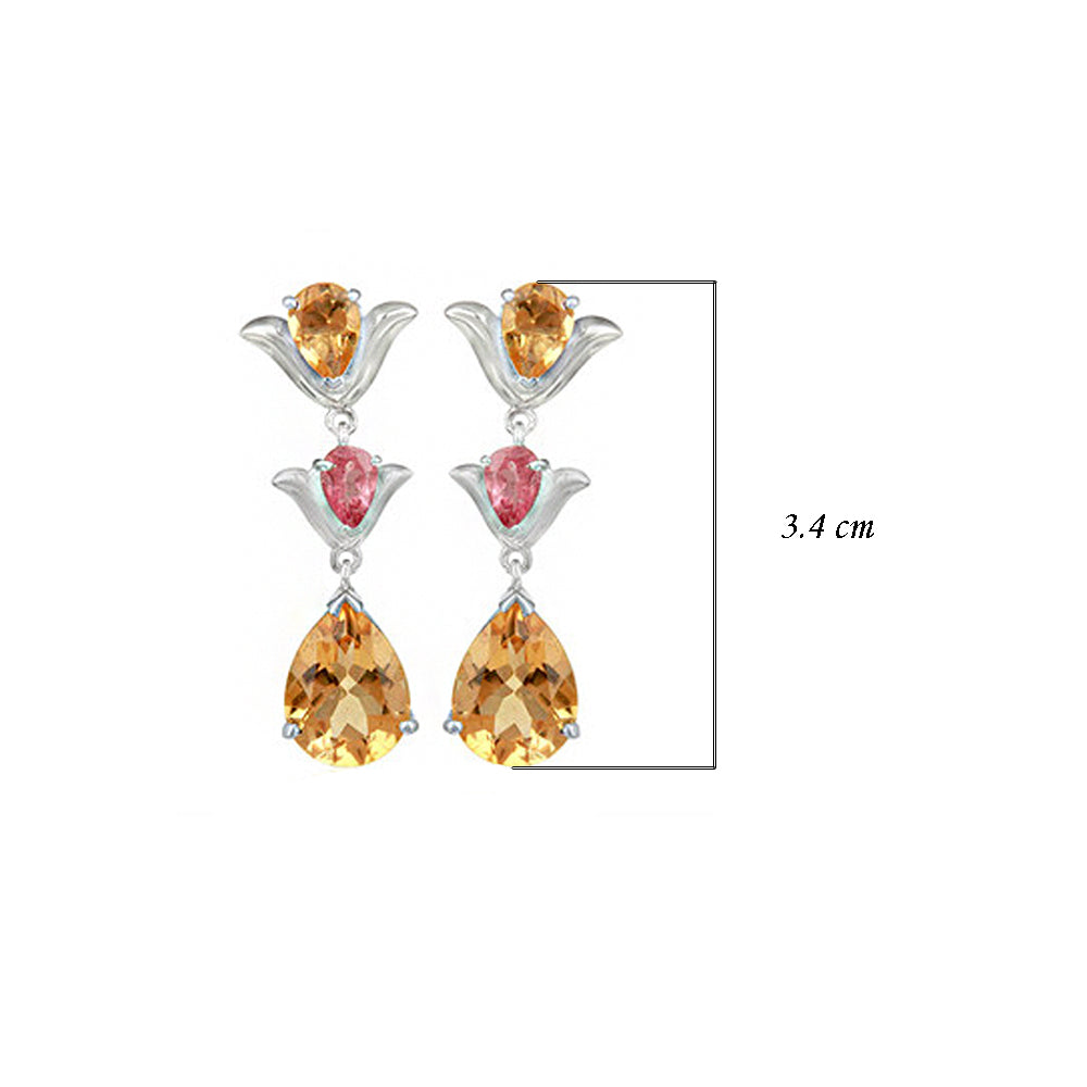 Hep Audrey Aurora Citrine and Pink Tourmaline Sterling Silver Earrings 3
