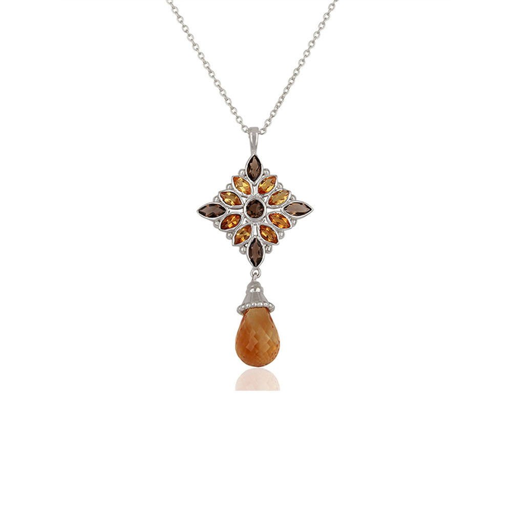 Aurora Stunning Citrine and Smoky Topaz Pendant with Chain
