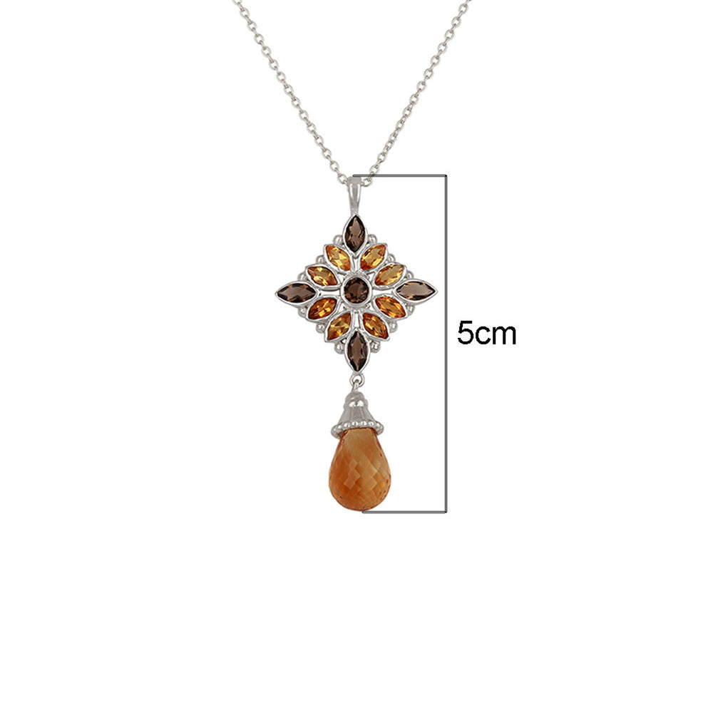 Buy Online Aurora Collection Natural Citrine and Smoky Topaz Pendant with Chain 2