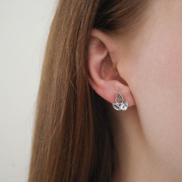 Aurora Classic Blue Topaz and Grey Moonstone Stud Earrings