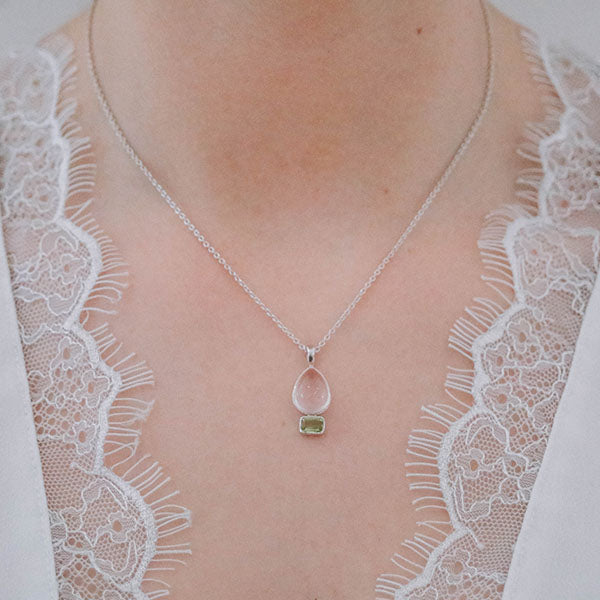 Aurora Delicate Rose Quartz and Peridot Pendant with Chain
