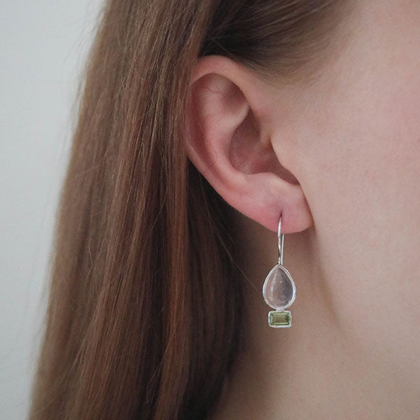 Aurora Delicate Rose Quartz and Peridot Sterling Silver Earrings