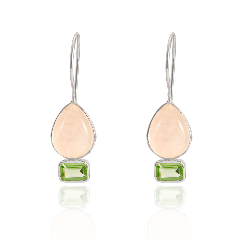 Buy Online Aurora Collection Delicate Rose Quartz and Peridot Sterling Silver Earrings