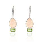 Buy Online Aurora Collection Delicate Rose Quartz and Peridot Sterling Silver Earrings UK