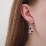 Buy Sterling Silver Earrings Online- Aurora Collection Geometric Garnet and Amethyst Sterling Silver Gemstone Earrings UK