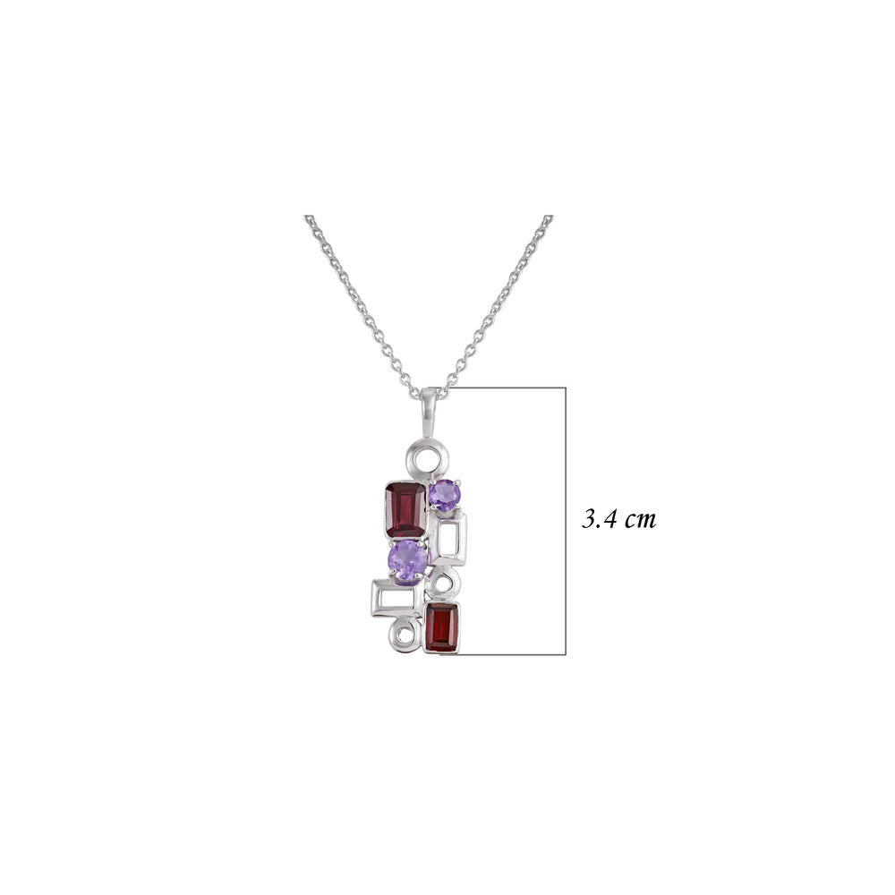 Buy Online Aurora Collection January and February Birthstone Geometric Garnet and Amethyst Sterling Silver Pendant with Chain UK
