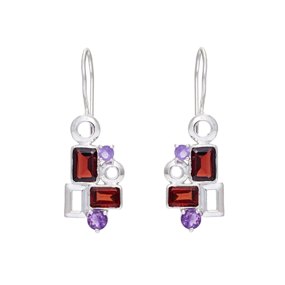 Buy online Aurora Collection Geometric Garnet and Amethyst Sterling Silver Gemstone Earrings UK