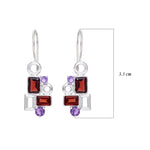 Buy Sterling Silver Hangings online-Aurora Collection Geometric Garnet and Amethyst Sterling Silver Gemstone Earrings 3