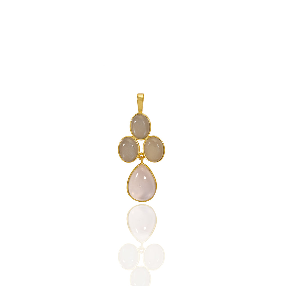 Hep Audrey Aurora Collection Grey Moonstone And Rose Quartz Pendant With Chain