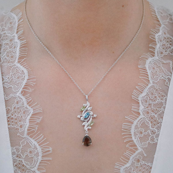Aurora Peridot, Blue Topaz and Smoky Quartz Pendant Chain