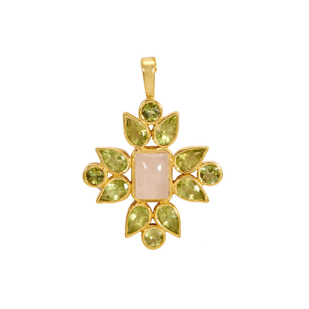 Buy Online Aurora Collection Peridot, Rose Quartz & Green Tourmaline Pendant with Chain UK